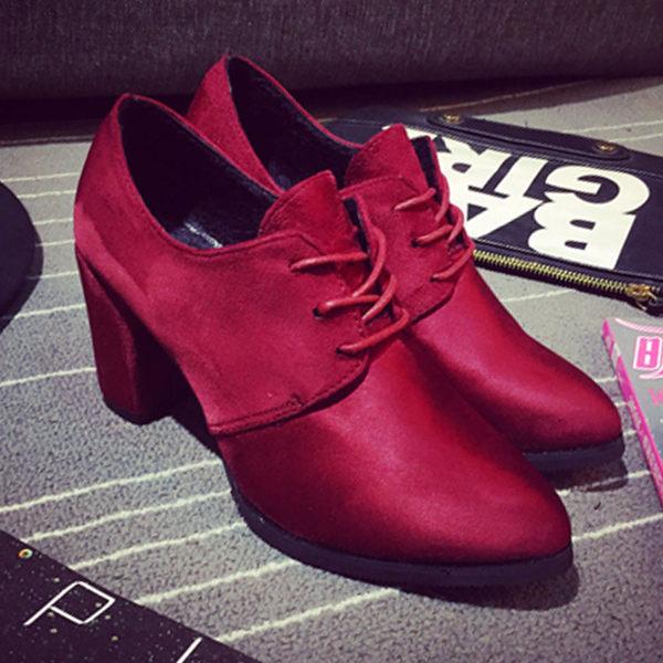 短靴 歐美時尚尖頭粗高跟裸靴踝靴【S794】☆雙兒網☆