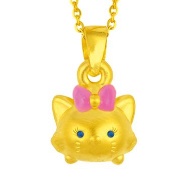 迪士尼系列金飾-TSUM TSUM造型黃金墜子-瑪莉貓款加贈金色鋼鍊