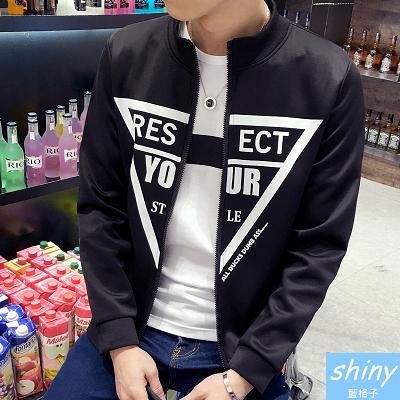 【Y159】shiny藍格子-黑白宣言.秋裝修身胸前英文字母圓領長袖外套