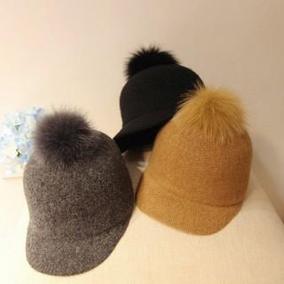 英倫復古狐狸毛球騎士帽子女秋冬天羊毛針織馬術帽休閒禮帽鴨舌帽