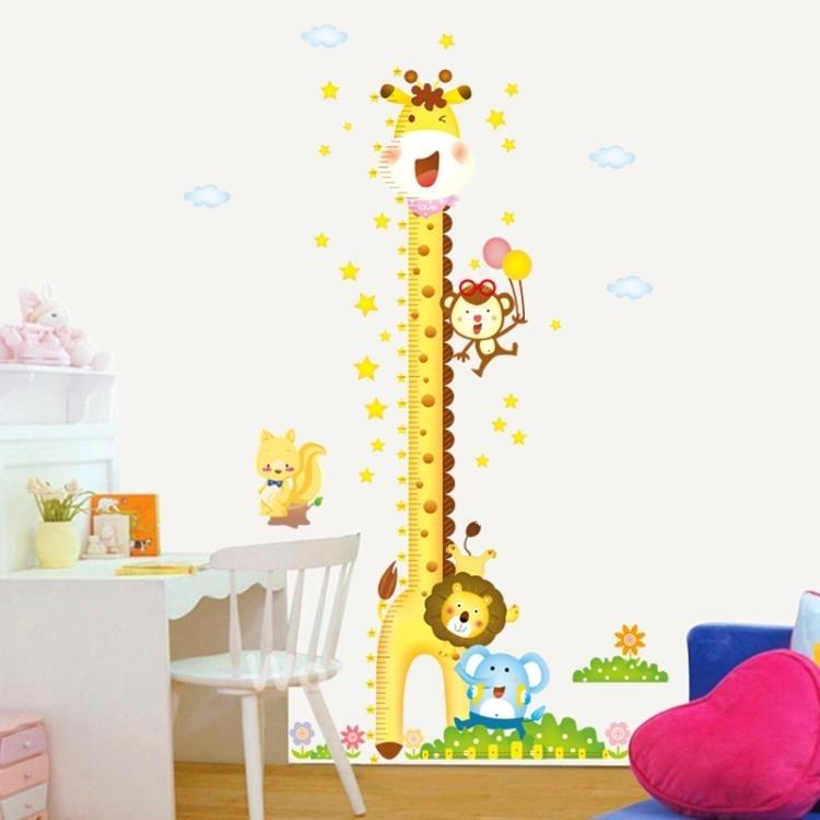 墻紙-寶寶兒童房間墻壁裝飾自粘墻紙貼畫卡通臥室可移除墻貼量身高貼紙
