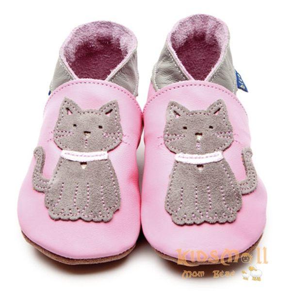 英國製Inch Blue,真皮手工學步鞋禮盒,Meeow-Baby Pink/Grey