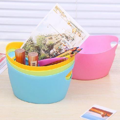 手提式多功能糖果色文具塑料桌面化妝品收納盒收納籃儲物籃