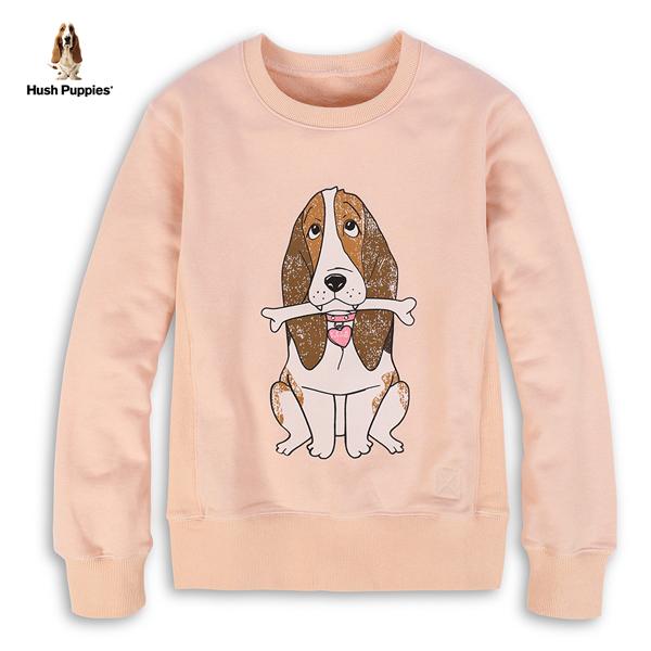 Hush Puppies 大學T 女裝雙面穿造型印花狗長袖上衣
