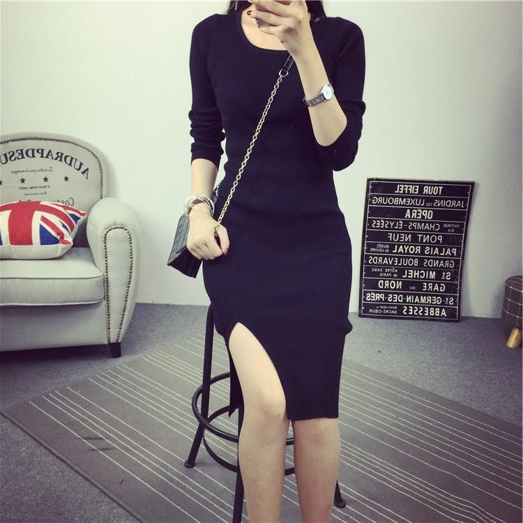 A1301 針織長袖開叉連衣裙修身包臀長款毛衣針織小黑裙  &小咪的店&