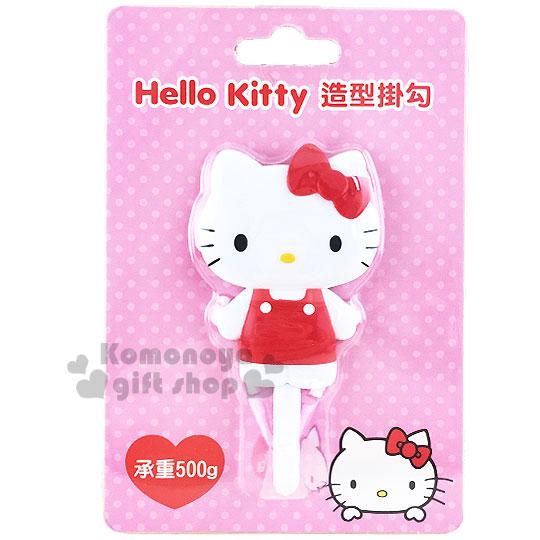 〔小禮堂〕Hello Kitty 貼式造型掛勾《紅.站姿.泡殼》耐重500g 8021057-40002