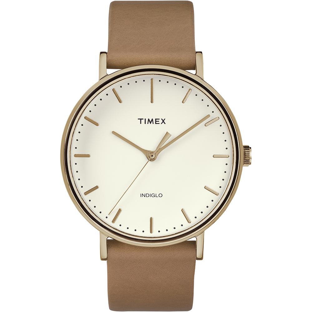【TIMEX】天美時 週末Fairfield系列 時尚手錶(玫瑰金框x杏色帶 TXTW2R26200)