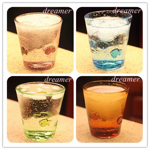 超豐國際彩色玻璃杯小魚水杯冷飲杯甜品杯果汁杯zakk