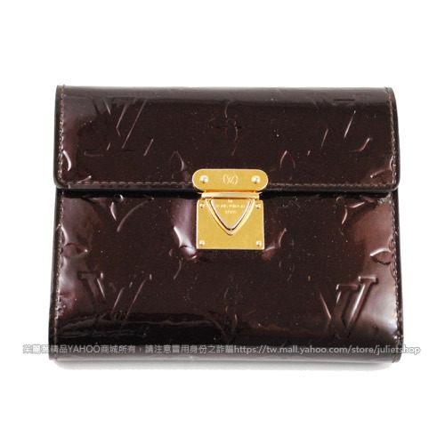 茱麗葉精品二手名牌8.5成新Louis Vuitton LV漆皮亮面曼哈頓短夾.深紫