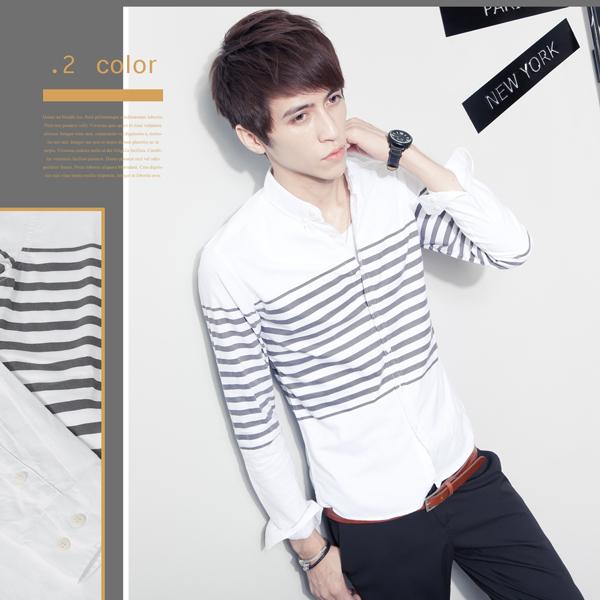 SW韓雅痞修身英倫小防皺橫條水洗質感棉質窄版素面長袖襯衫灰藍K61269