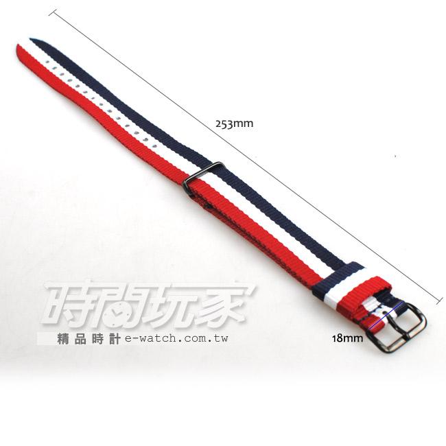 18mm 錶帶 MANGO 帆布錶帶 錶帶 IP黑x紅x藍x白 MA0502帆18