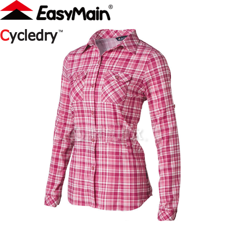 【EasyMain 衣力美 女款 彈性快乾防曬格子衫《粉紅》】SE17078/排汗快乾/輕量/機能透氣★滿額送