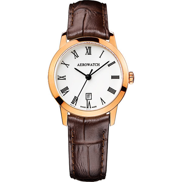 AEROWATCH 羅馬佳人經典時尚女錶-玫瑰金框x咖啡/29mm A17973RO01