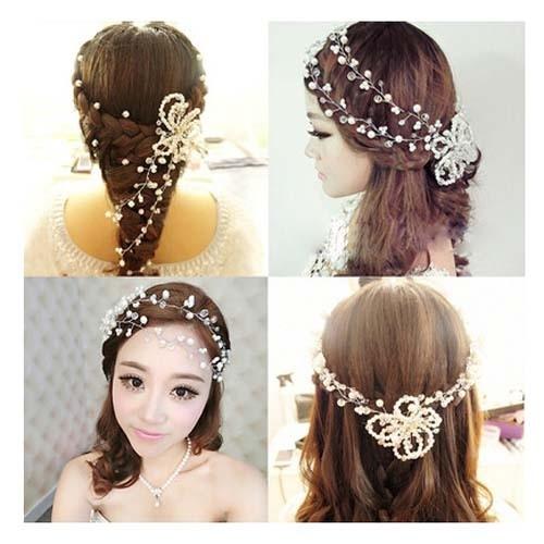甜美韓式結婚新娘頭飾中式 珍珠手工鑲鉆水晶串珠發飾 婚紗配飾【印象閣樓】