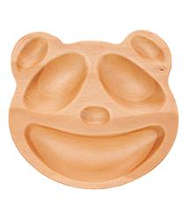 里和Riho 日本PETITS ET MAMAN兒童餐盤系列 造型木質餐盤-趣味熊貓 天然木質溫潤觸感,不用擔心摔破
