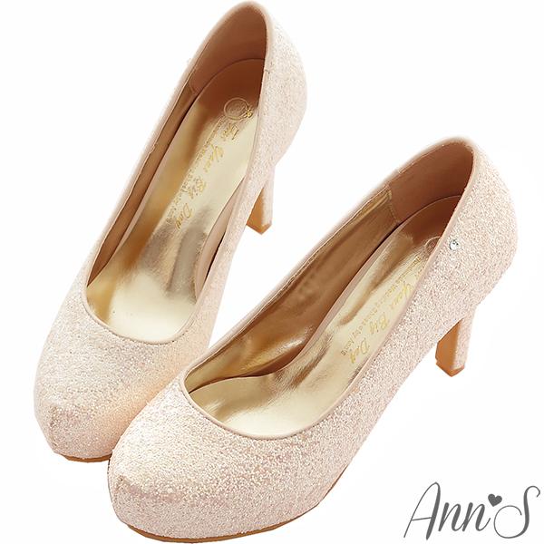 Ann S Bridal幸福婚鞋閃耀單鑽厚底跟鞋-粉