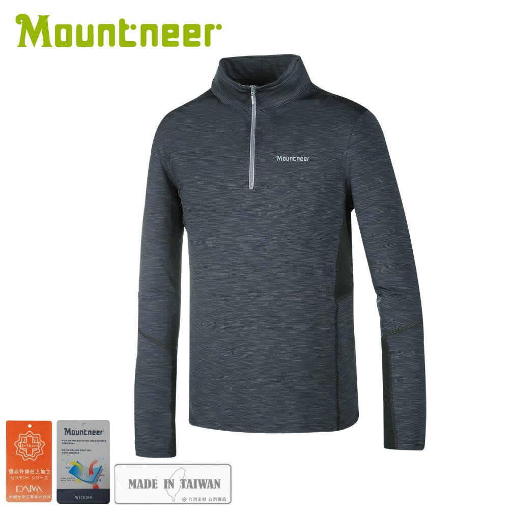 【Mountneer 山林 男遠紅雲彩保暖上衣《深灰》】32P17/休閒長袖/保暖長袖