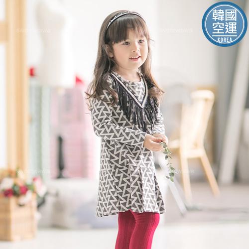 韓國童裝~鉤織流蘇幾何寬摺洋裝220471水娃娃時尚童裝