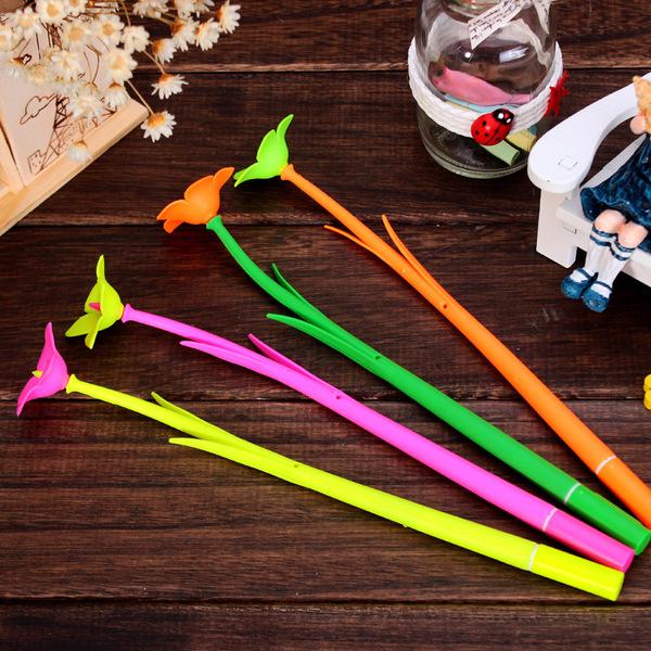 CH170可愛時尚喇叭花造型中性卡通筆花朵造型學生中性筆文具開學必備隨機出貨