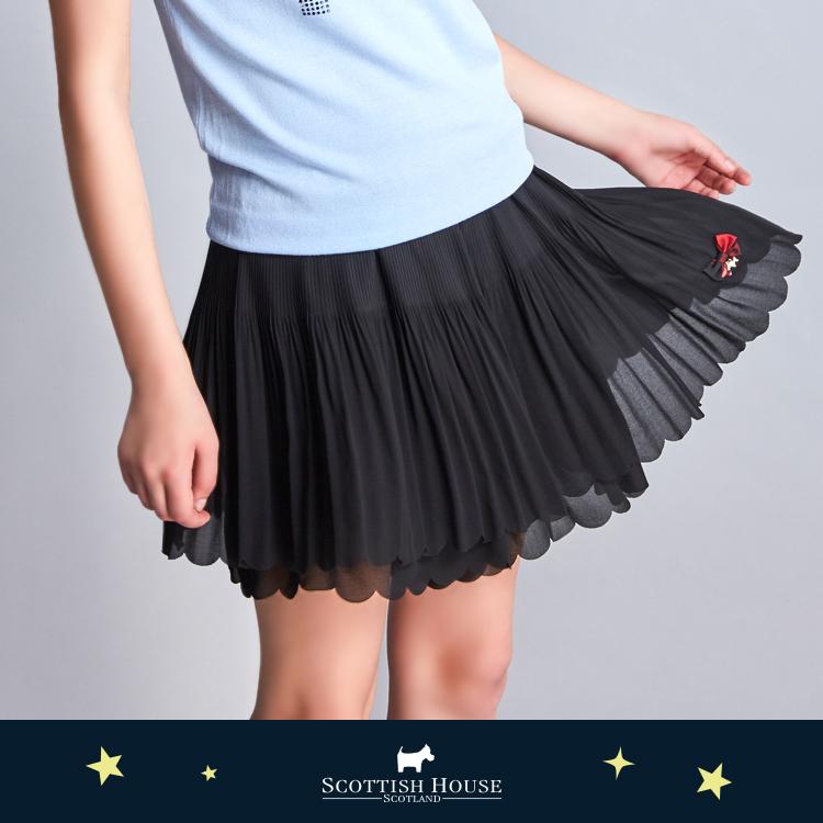 細褶花瓣雪紡短褲裙 Scottish House【AJ2260】