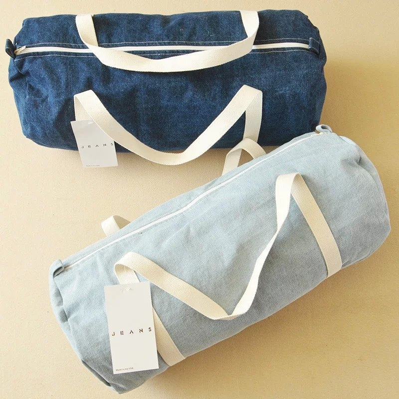 Denim bag熱銷日韓高級牛仔布料旅行包牛仔包丹寧包肩背收納包行李手提包