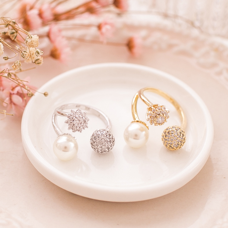 三巨頭珍珠碎鑽戒指r1605073