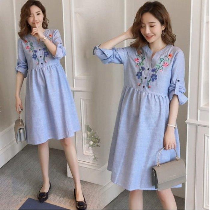 漂亮小媽咪 襯衫洋裝【D2901 】 韓系 棉麻 條紋 長袖 刺繡 繡花 反摺袖 孕婦洋裝 孕婦裝
