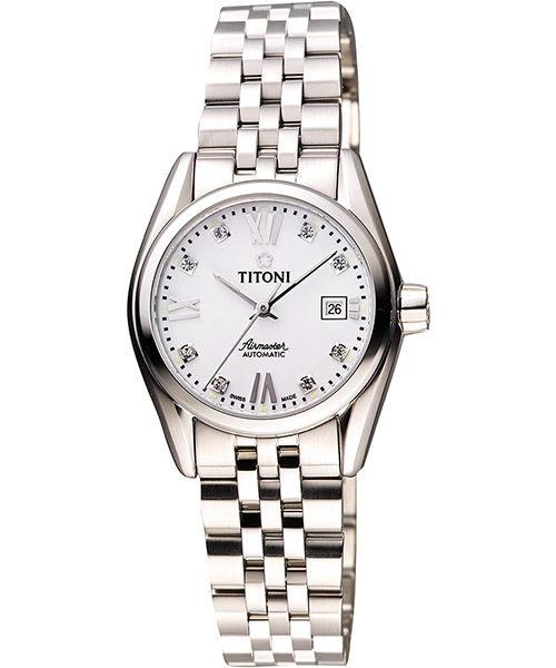 TITONI Airmaster 復刻日曆晶鑽腕錶-銀/27mm 23909S-063