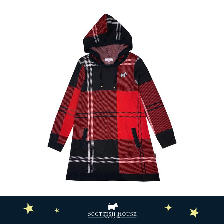 【紅黑格】格紋緹花長版連帽針織  Scottish House【AJ1449】
