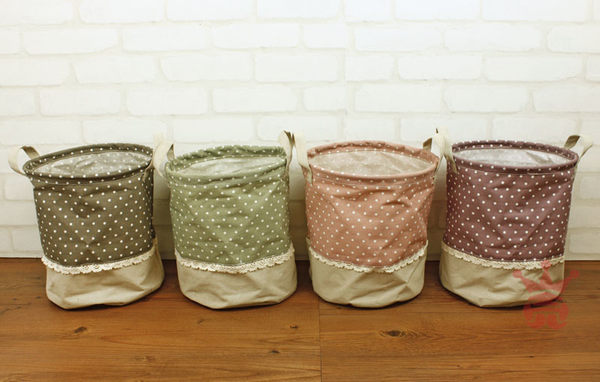 日系雜貨.水玉蕾絲置物桶.摺疊收納桶.收納籃.置物籃.髒衣桶.棉麻