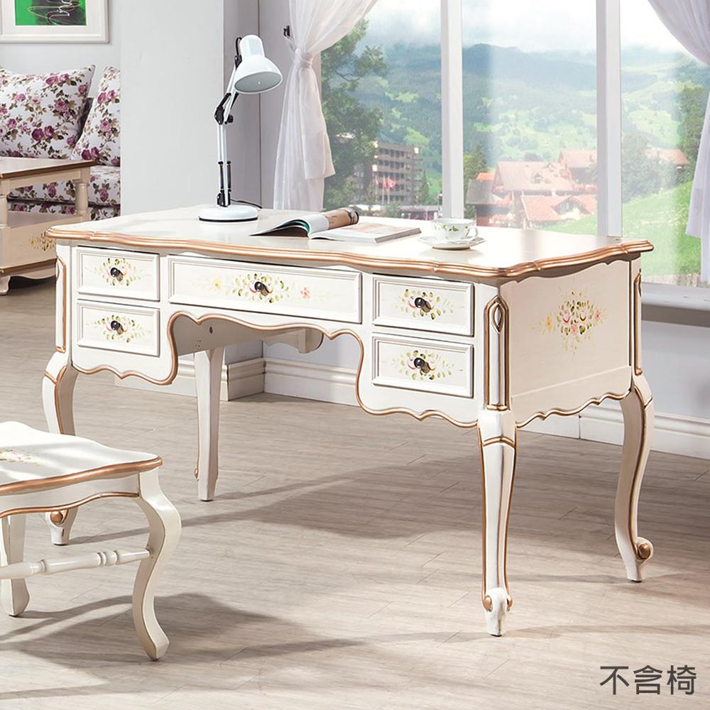 森可家居伊麗莎白歐式4.6尺書桌不含椅6HY460-1兼化妝檯歐式仿古鄉村風法式古典公主宮廷