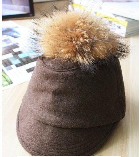 韓國復古可愛貉子真毛大球球毛呢平頂鴨舌騎士馬術帽子女秋冬