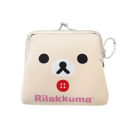 懶熊妹款日本正版San-X拉拉熊防震棉中型珠扣包零錢包卡片包懶懶熊Rilakkuma 419417