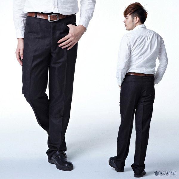 【NST Jeans】奢華閃耀銀灰條紋 男 羊毛無打摺西裝褲 (中腰) 390(5691) 年輕款式