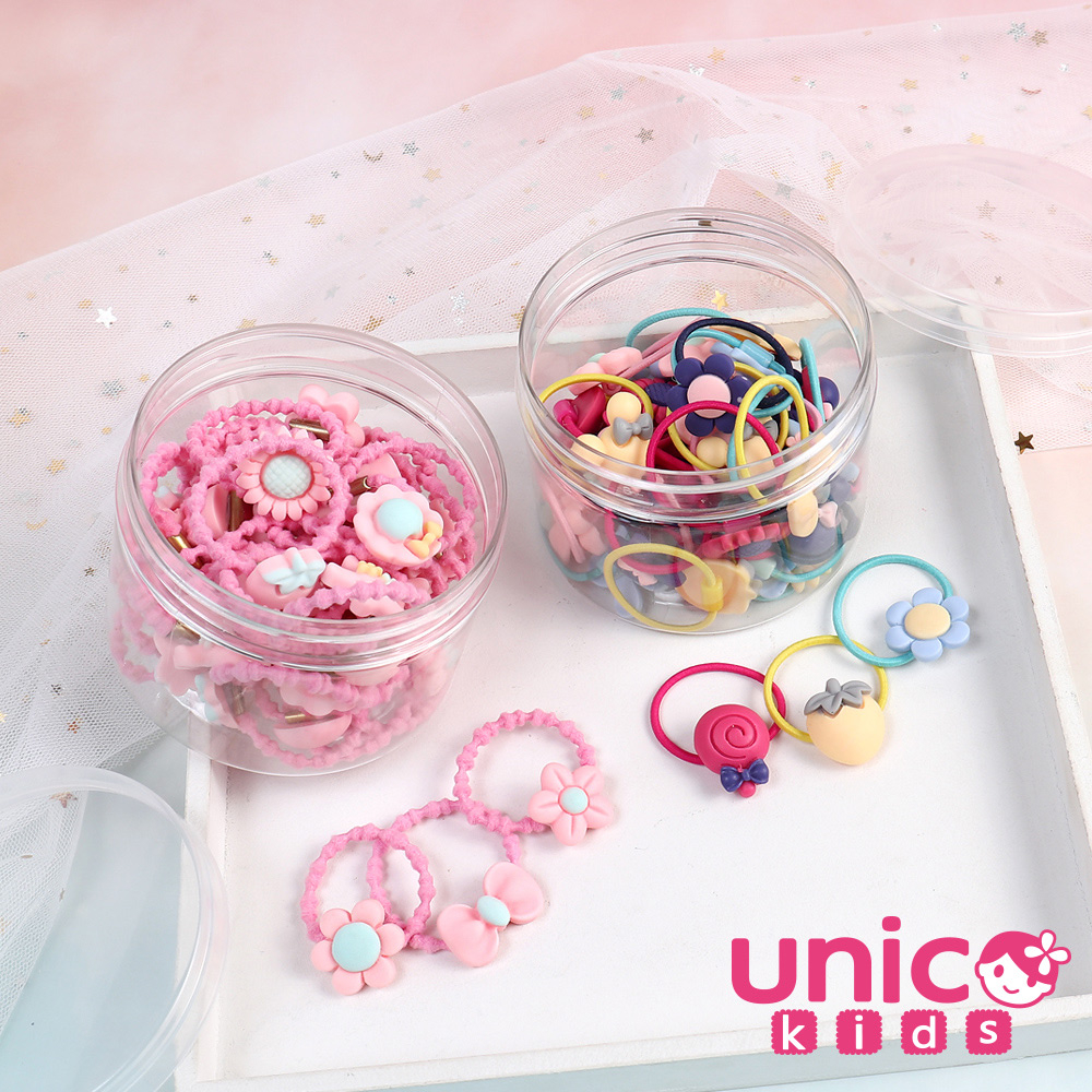 [時時樂限定] UNICO 兒童 甜心基本款40-100條多款樣式髮圈/髮繩罐裝