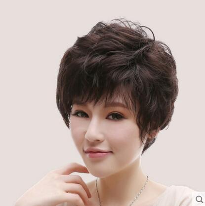 假髮中老年假髮女短髮直發假髮中年人女士假髮套媽媽假髮(真髮絲)