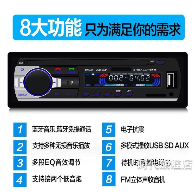車載播放器12v24V通用貨車載MP3播放器插卡收音機代替汽車藍牙音響CD主機DVD時代旗艦店tw