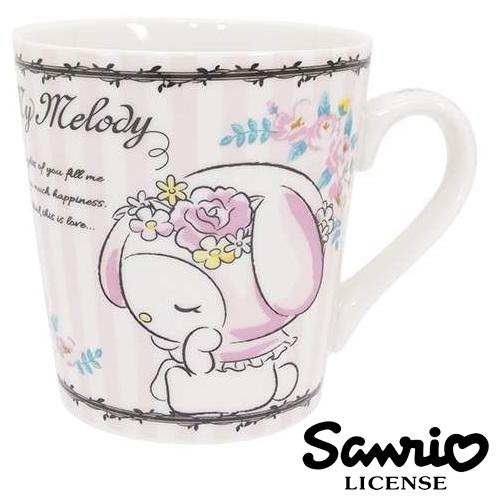 日本進口正版美樂蒂條紋款握柄陶瓷馬克杯咖啡杯水杯杯子My Melody三麗鷗406905
