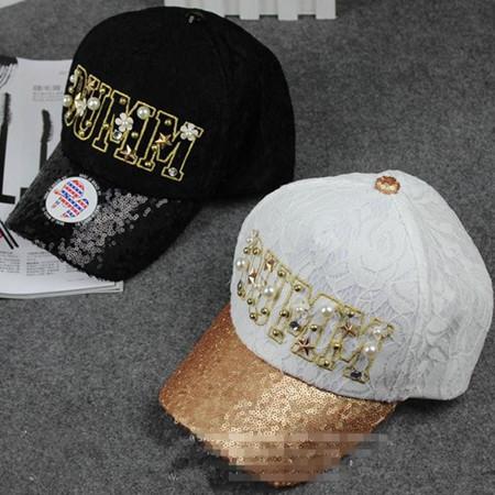 現貨蕾絲刺繡鉚釘珍珠棒球帽4色E297190