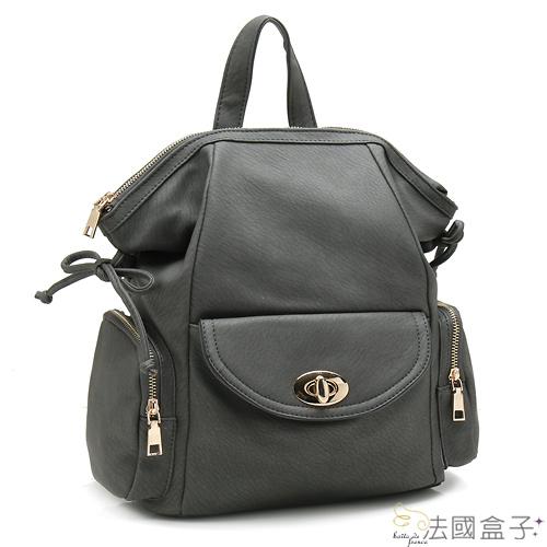 後背包-法國盒子.韓系立體質感多口袋後背包(共三色)16345