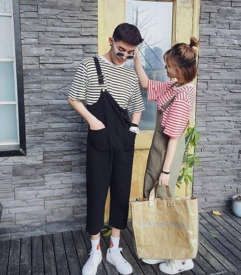 找到自己韓國最新款連身吊帶褲工作裝情侶衣套裝男女尺碼好看簡約寬鬆穿搭免運費中