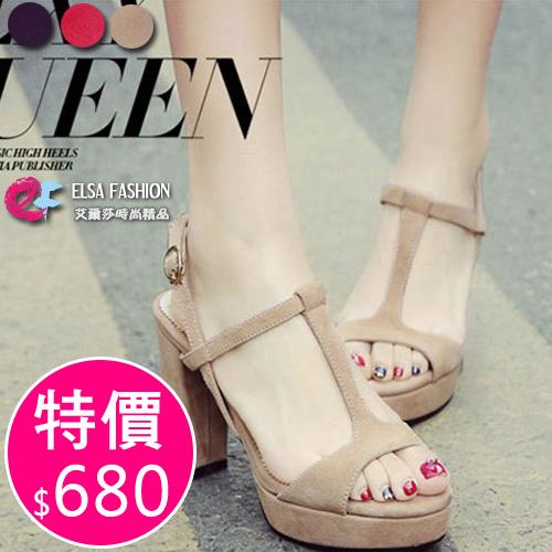 高跟鞋韓國韓劇太陽的後裔宋慧喬同款設計款優雅露趾粗跟磨砂高跟涼鞋艾爾莎TSB8620