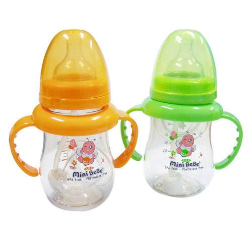 【奇買親子購物網】mini BeBe 小蜜蜂 PES寬口和風自動把手奶瓶180ml-(藍/紅/綠/橘)