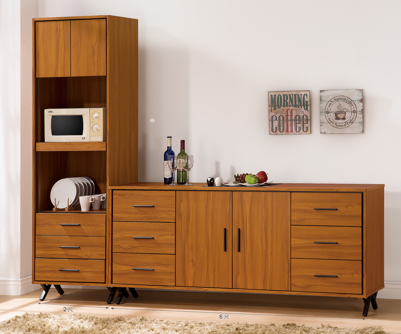 【森可家居】安德里8尺餐櫃 (全組) 6ZX924-2 收納廚房櫃 碗盤碟櫃 木紋質感 北歐 工業風