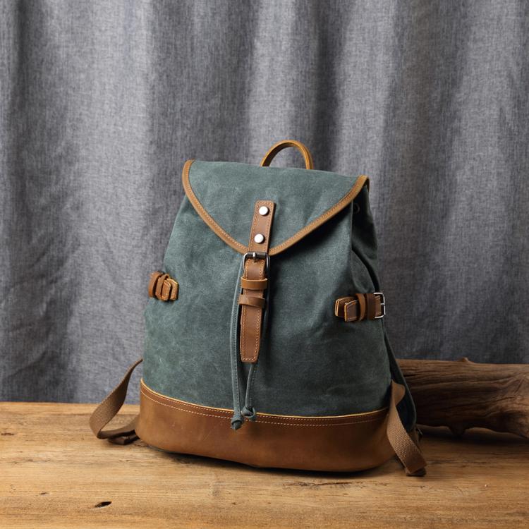 【Solomon 原創設計皮件】帆布牛皮束口後背包 掀蓋磁釦背包 旅行包