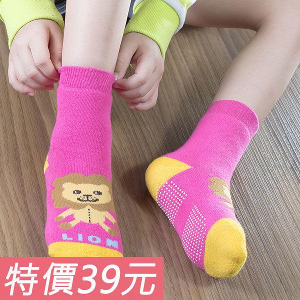童襪 母子氣墊襪(獅子圖案/桃紅色)_直版造型氣墊襪_底部止滑氣墊_MIT微笑標章認證【W008-23】Nacaco