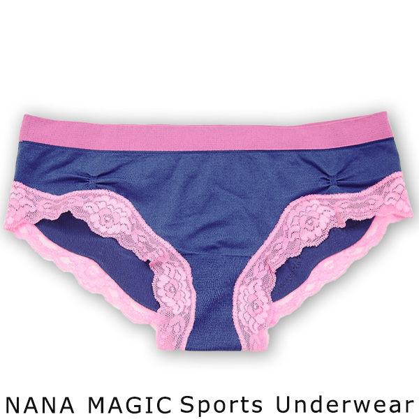 NANA MAGIC彈力無縫系列蕾絲低腰內褲深藍ML有氧瑜珈運動路跑居家休閒