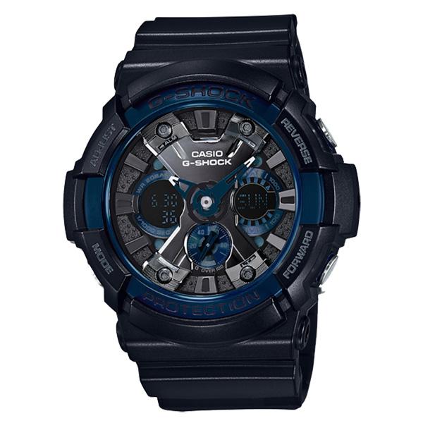 CASIO G-SHOCK金屬狂潮雙顯運動錶-藍X黑