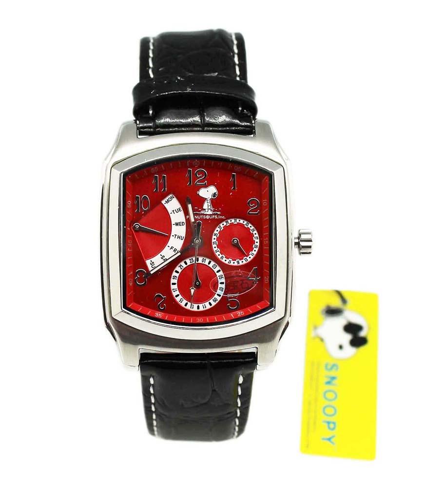卡漫城Snoopy手錶紅版強化水晶史努比史奴比女錶男錶月曆功能日期星期五折出清