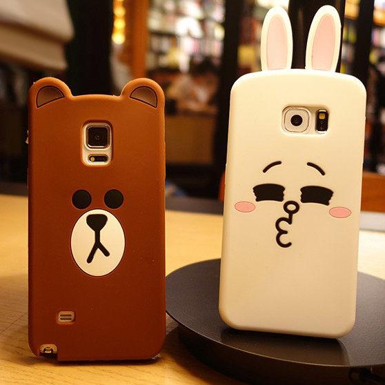 SZ34 JJ NOTE5手機殼韓國平面熊棕色熊可愛兔矽膠套三星S3手機殼S4手機殼SAMSUNG S5手機殼